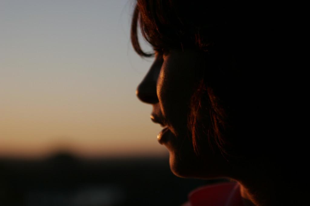 Maureen against a sunset