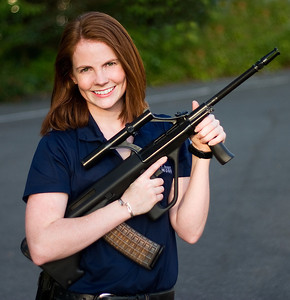Shelley of www.shellleysargent.net and www.gunnuts.net!  (Yes, that's a real Steyr Aug.)