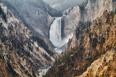 The Lower Falls at Artist Point in Yellowstone National Park. Digitally modified to give a lithographic type feel.