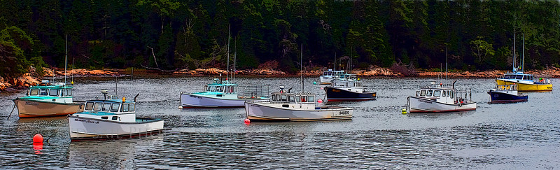 Lobster boats in Bunkers Harbor. This is located on the north side of Schoodic Peninsula.