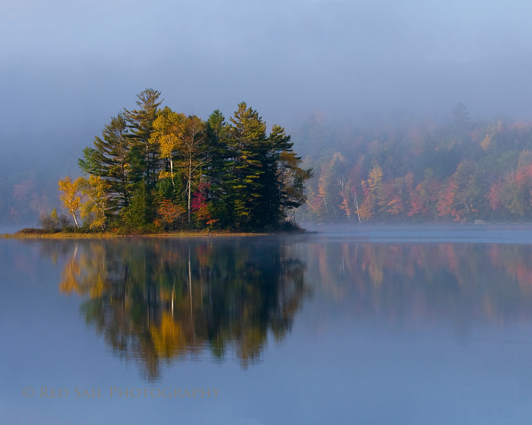 Fall foliage on an island in the southern half of Long Pond.