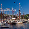 Schooners moored in Camden Harbor, Maine.
