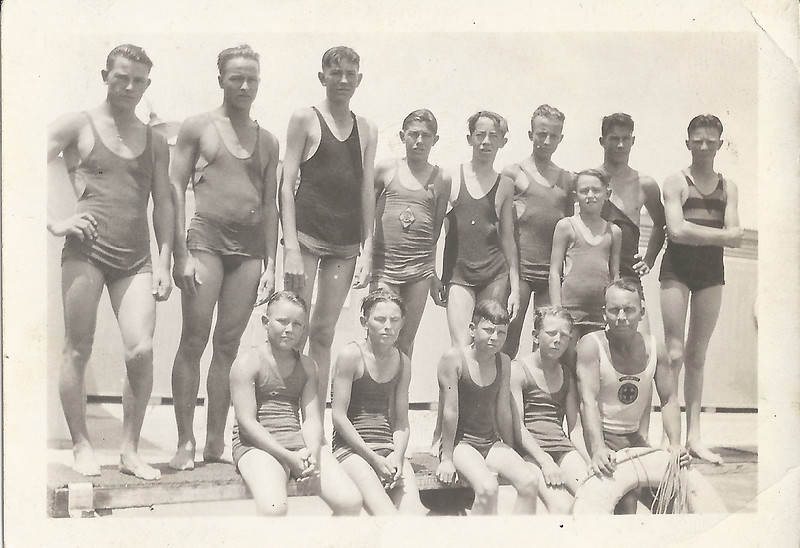 1935 Swim Team Bk Row Eugene Romines 4th from Left or Front Row 2nd from Left?
