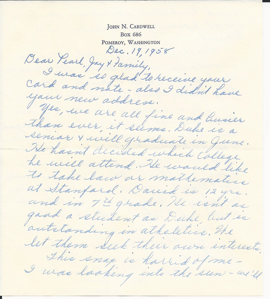 19581219 From Frances and John Cardwell Neice to Jesse pg 2