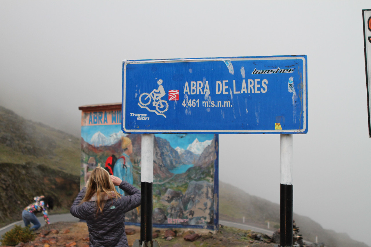We cross a pass at 14,600 feet. There was a lot of coca leaf chewing going on.