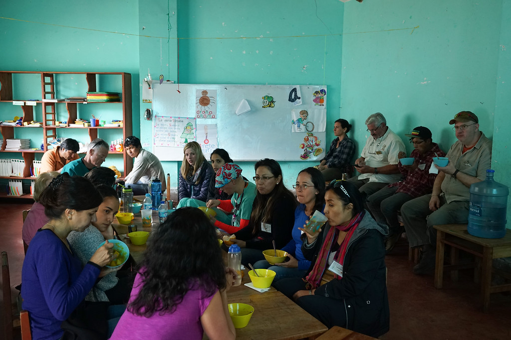 Our lunch break. We were well fed by Coqui, Alejandra's husband who traveled with us to our clinics. Usually a stew with potatoes and lentils or quinoa. And always coca tea!