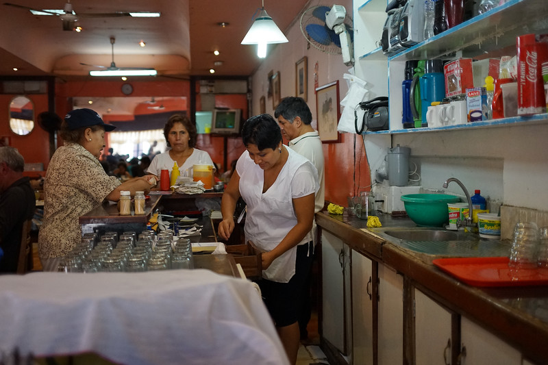 We enjoy Cerviche and other traditional foods at this local restaurant.
