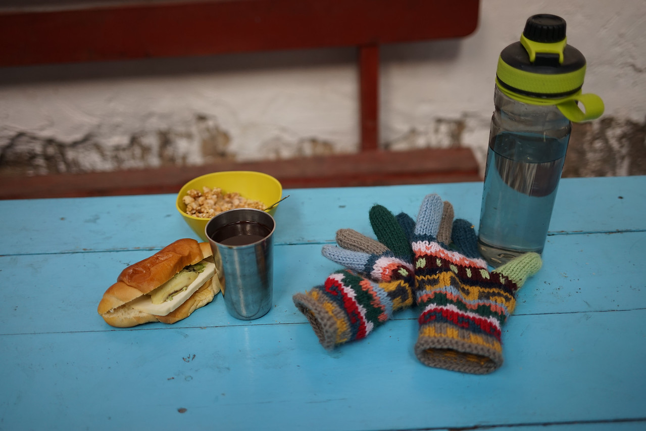 Fantastic breakfast of  a bread/cheese/avocado sandwich, some puffed corn cereal and Coca tea. Perfect! <br /> We only drank bottled water- and even brushed our teeth with filtered water. I filled my bottle at least 2 times a day and tried very hard to stay hydrated.