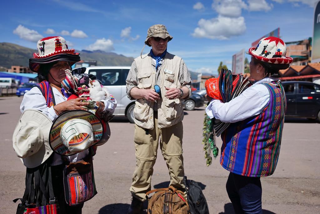 Francis and the souvenir ladies.