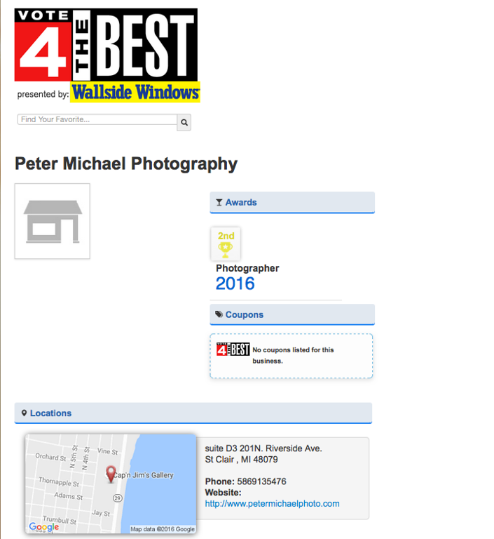 Best of Detroit  2nd Place WDIV Click on Detroit  Best Photographer