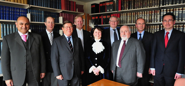 The High Sheriff Penelope Walkinshaw after presenting her awards is pictured along with   Judges past and present at Peterborough Crown Court