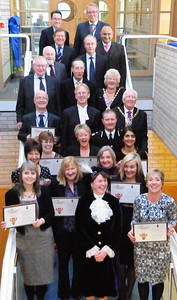 The High Sheriff Penelope Walkinshaw after presenting her awards is pictured along with long serving crown court staff and Judges past and present at Peterborough Crown Court