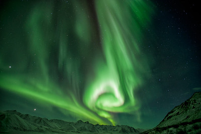 Northern Lights near the Dempster Highway in the Tombstone Territorial Park and Peel Watershed. Winter.