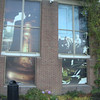 Posters in the windows of the Liberty Bell Center, where the bell now resides.