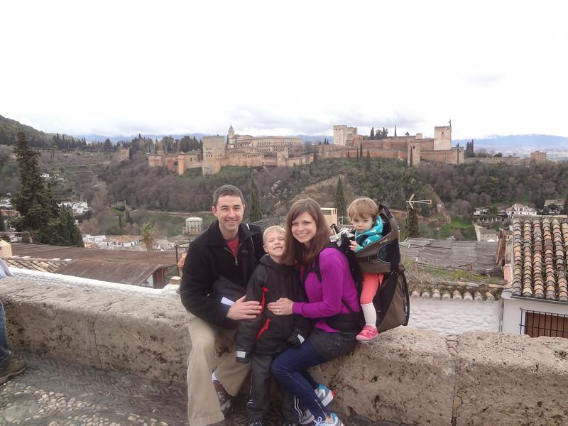 At the San Nicolas Viewpoint looking on Alhambra. Granada, Spain