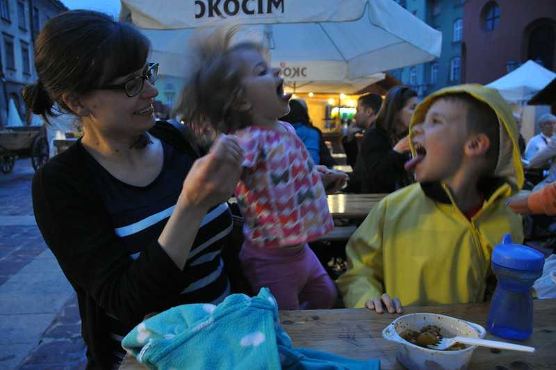 Silliness at a food festival in Krakow, Poland