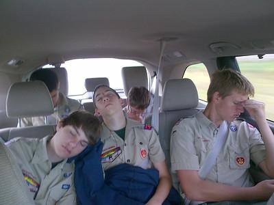 Patrick,  Zach & Ben sleeping in the Pilot