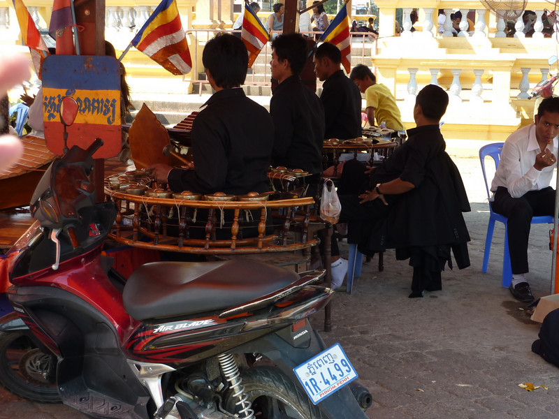 traditional music makers- drums, xylophones at the riverfront, Phnom Penh