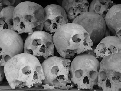 "excavated skulls at the ""killing field"" outside phnom penh"