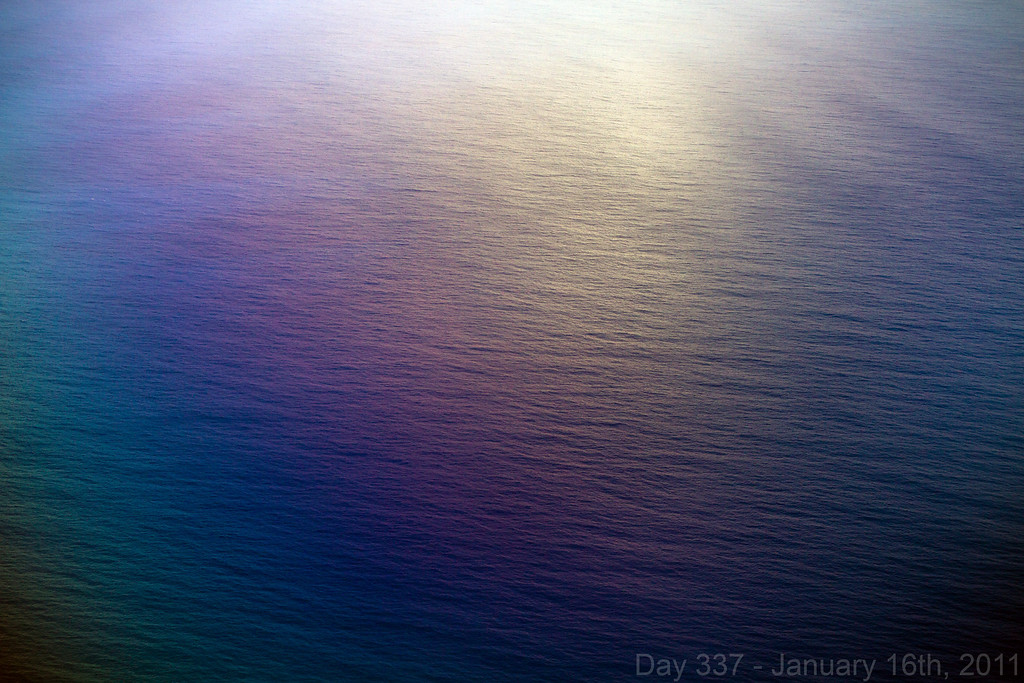 Today, my parents and I flew back to Oahu with Koda very early in the morning, and I took this photo out the plane window with my polarizer causing the rainbow effect. Later, we went to Gyotaku for a family dinner with my uncle and great-aunt as a belated birthday dinner.