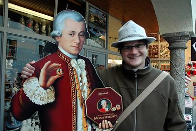 Aaron and Mozart. Salzburg, Austria. Nov. 2004