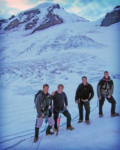 Derek, friend, Andy, Cory climbing Mt. Baker.