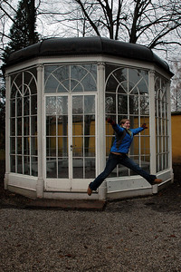 """emily dances in front of """"Sound of Music"""" gazebo in Salzburg, Austria. Nov. 2004"""