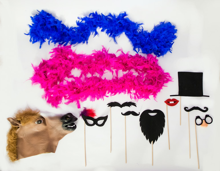 Boa Scarves (Hot Pink & Blue) Assort Mustaches, Lips, Glasses