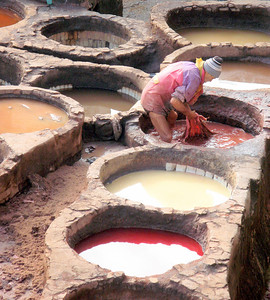 Leather dying vats in Fez, Morocco. The colors and smells are memorable