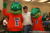 photo by Tim Casey<br /> <br /> Albert and Alberta pose for a photo with radio show host Adam Reardon during the Marion County Gator Club's Gator Gathering (and ninth stop of the Gator Country Caravan) on Thursday, July 31, 2008 at Central Florida Community College in Ocala, Fla.