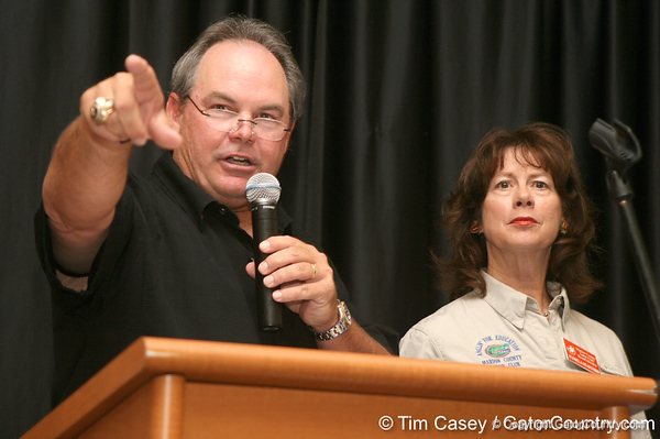 photo by Tim Casey<br /> <br /> John Brantley was the Master of Ceremonies during the Marion County Gator Club's Gator Gathering (and ninth stop of the Gator Country Caravan) on Thursday, July 31, 2008 at Central Florida Community College in Ocala, Fla.