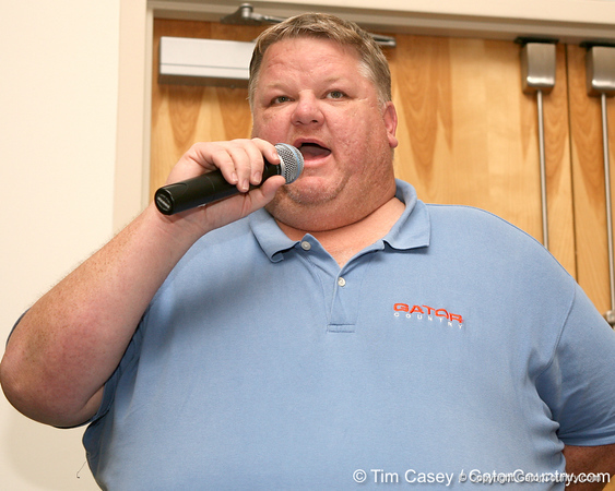 """photo by Tim Casey<br /> <br /> Gator Country Recruiting Coordinator """"Hollywood"""" Bob Redman announces the latest verbal football commitment at the Marion County Gator Club's Gator Gathering (and ninth stop of the Gator Country Caravan) on Thursday, July 31, 2008 at Central Florida Community College in Ocala, Fla."""
