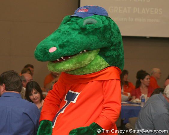 photo by Tim Casey<br /> <br /> Albert the Alligator was on hand during the Marion County Gator Club's Gator Gathering (and ninth stop of the Gator Country Caravan) on Thursday, July 31, 2008 at Central Florida Community College in Ocala, Fla.