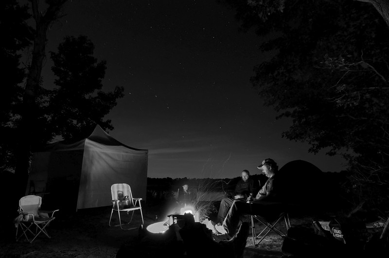 Oct 11th,  While at some friends campsite I got this idea for a picture.  With the big dipper in the back ground it made for a cool setting.  I shot a test image to see how long to expose for the stars.  Two minutes worked for that.  Then I had to get everyone to sit still for two minutes!   I like how it turned out, but if I would have bumped the ISO up I could have cut the time in half and the star trails wouldn't have been as long.  Now we know!