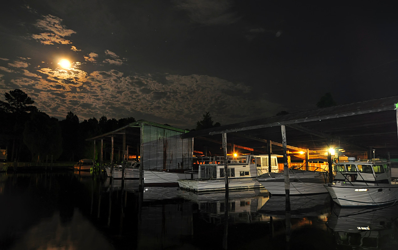 June 7th,  Found a nice moon cloud mixture while leaving a friends boat this evening.  Sometimes nights are a great time to shoot some pictures!!!
