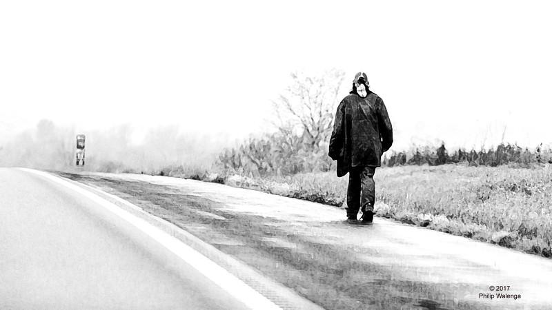 20161112 Man Waling on Highway-6192 edited copyright