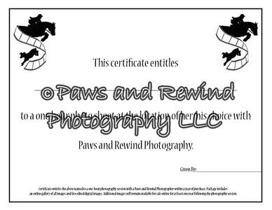 Photo Shoot Gift Certificates
