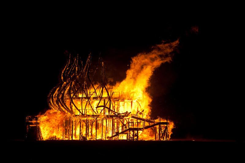 the Temple burns on Sunday night...