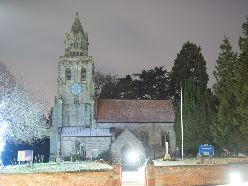 Keyworth Church at 1am; power has returned to the village