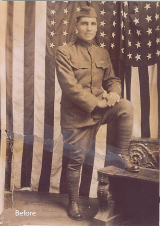 """World War I photo had been torn in half and taped. This is a scan of a photcopy of the original. Size abouty 3.5"""" x 5""""."""