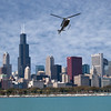 skyline with helicopter