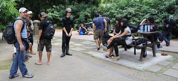 Models and photographers in a public park, Kuala lumpur, Malaysia