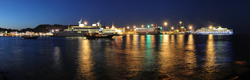 Panorama image of Muscat corniche at night  My 360 sperical panoramas: http://www.360cities.net/profile/solariz3d