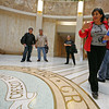 Louise Garcia Byrd (R) gives a historical tour of the New Mexico state capitol to a group from Washington D.C. on Oct. 20, 2009. Bills to cut capital outlay could be filed as special session continues into fourth day in Santa Fe, N.M. on Oct. 20, 2009.<br /> Natalie Guillen/The New Mexican
