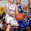 (32) of Santa Fe Indian School keeps the ball from (33) of Laguna-Acoma during a boys basketball game on Nov. 19, 2009. <br />  Natalie Guillen/The New Mexican