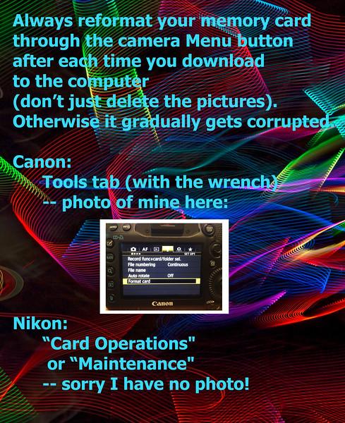 Reformat Memory Cards