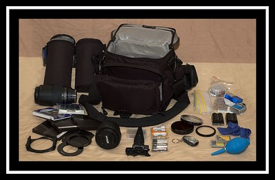 The complete kit (minus the D70 and SB800, which were used to take the pic).  It amazing how much you can get in there!