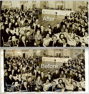 This wonderful old group photo had a lot of bumps, scuffs and cracks. With time and attention to detail it was restored to a lovely keepsake.  Testimonial Dinner to Dr. Ira Kaplan 1924-1949 Biltmore Mar. 24, 1949 Photo restoration by CandaceWest.com  #PhotoRestoration #PhotoRepair #OldPhotoRestoration #BeforeAndAfter #retouch #retoucher #SouthFloridaPhotoRestoration #OldPhotos #FamilyTree #VintagePhotos #SaveOld