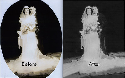"""My father is disappearing, can you help me?"" My latest client was worried she would lose this photograph to time.  I was able to carefully coax out detail in the shadows and physically draw in detail where there was none. With a combination of technology and old school artistry, we  have a restored wedding photo and a family heirloom.    #FtLauderdalePhotoRestoration  #PhotoRestoration #PhotoRepair #OldPhotoRestoration #BeforeAndAfter #retouch #retoucher #SouthFloridaPhotoRestoration #OldPhotos #FamilyTree #VintagePhotos #SaveOldPhotos #CandaceWestPhotoRestoration #SavingYesterday"