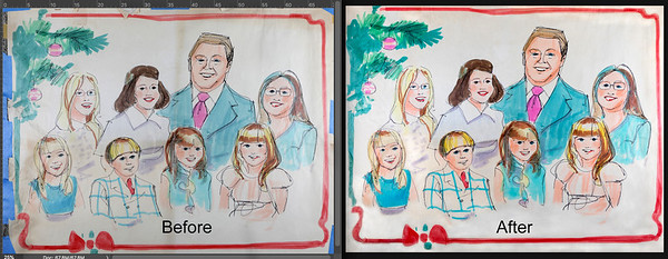 A treasured artist rendition of the Mears family. Before with cracks, tears and discolorations is now restored.